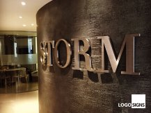 STORM metal logo signs